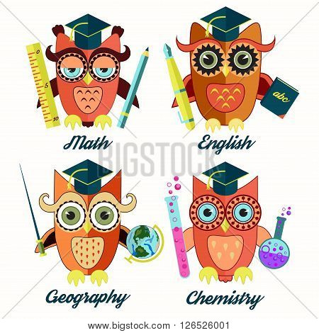 Educational owls teachers of math, chemistry, geography and english.