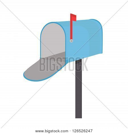 Vector illustration empty blue mailbox. Mail box icon with red flag flat design
