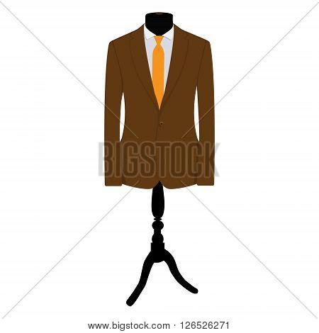Vector illustration brown businessman suit with orange tie on mannequin