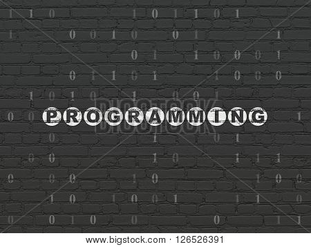 Database concept: Programming on wall background