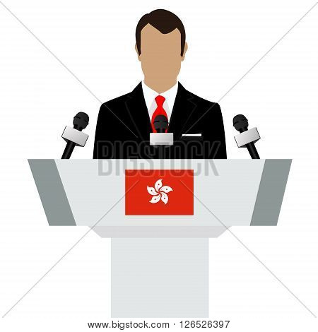 Vector illustration presentation conference concept. Speaker man in suit speaking from tribune. Hong Kong flag on podium tribune
