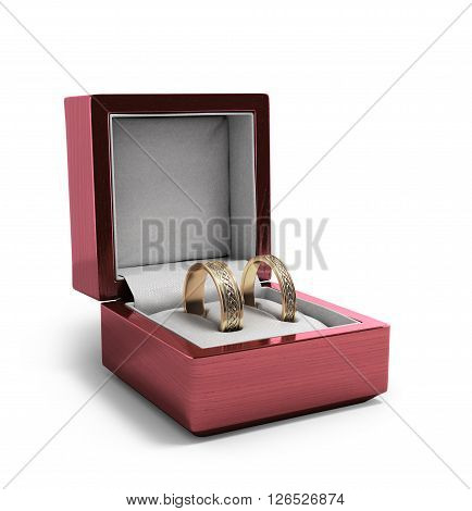 wedding bands wedding rings in the red box wedding jewelry wedding preparation wedding rings box 3d render