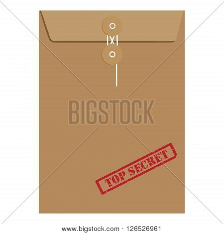 Brown long postal envelope template with red rubber stamp top secret vector illustration. Envelope sealed with string.