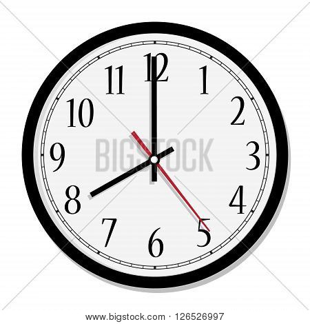 Vector simple classic black and white round wall clock isolated on white. Clock on wall shows eight o'clock
