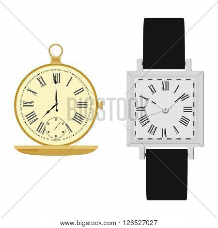 Vector illustration classic analog men wrist watch with black leather band and golden pocket watch. Vintage pocket clock. Watch with roman numerals