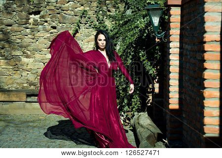 Woman In Red Dress Outdoor