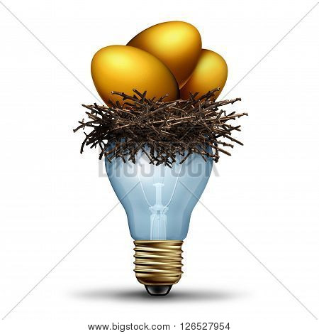 Retirement savings idea as a financial concept for finance planning as a golden nest egg resting in a light bilb as a banking and wealth management solution as a 3D illustration.