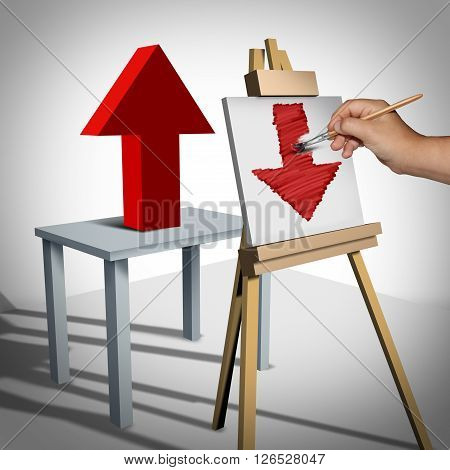 Pessimistic negative psychology and failure thinking as a person looking at a upward 3D illustration arrow and interprets it on canvas as a downward arrow as a metaphor for bleak sad business view.