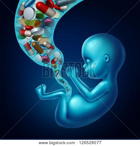 Medicine and pregnancy medical concept as medication with pills and prescription drugs flowing in through the umbilical card of a fetus as a metaphor for pregnant woman risk to the unborn as a 3D illustration.