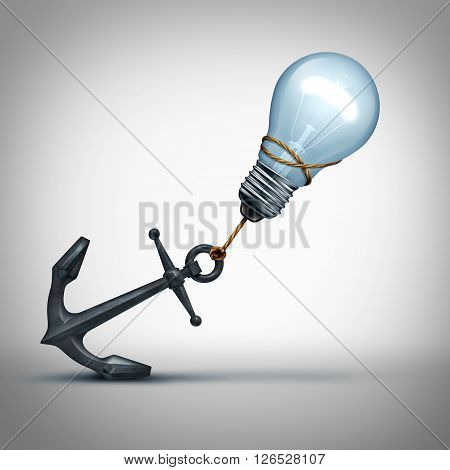 Idea trouble concept as a light bulb pulling a heavy anchor as a creative struggle and problem metaphor for overcoming thinking obstacles as a 3D illustration.