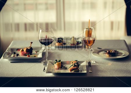 Served Meal And Wine