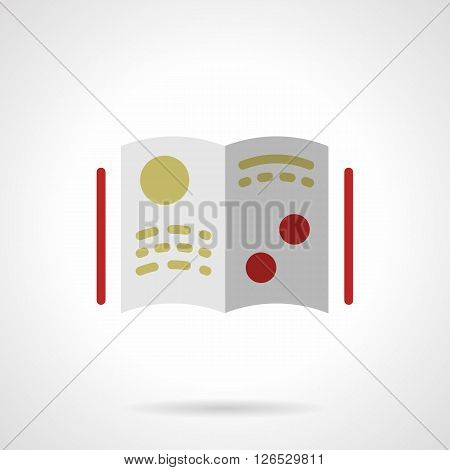 Open book or magazine with yellow and red elements. Scientific literature and publications. Education and science.  Flat color style vector icon. Web design element for site, mobile and business.