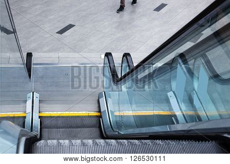 modern new escalator in underground passage