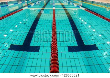 Swimming Lanes. Large Empty Swimming Pool Lanes Closeup. ** Note: Shallow depth of field