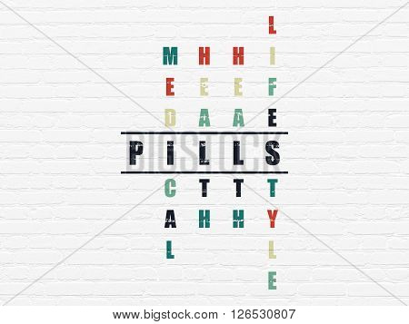 Medicine concept: Pills in Crossword Puzzle