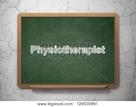 Medicine concept: Physiotherapist on chalkboard background