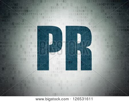 Marketing concept: PR on Digital Paper background