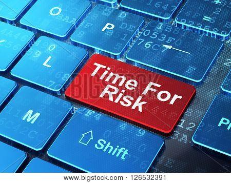 Timeline concept: Time For Risk on computer keyboard background