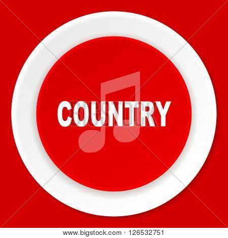 music country red flat design modern web icon