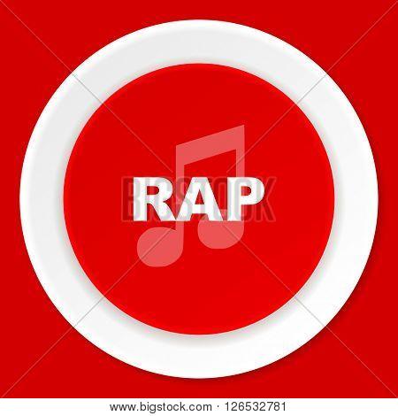 rap music red flat design modern web icon