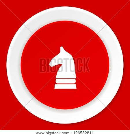chess horse red flat design modern web icon