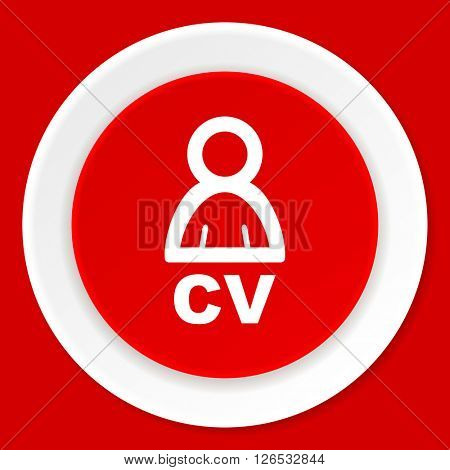 cv red flat design modern web icon