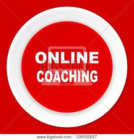 online coaching red flat design modern web icon