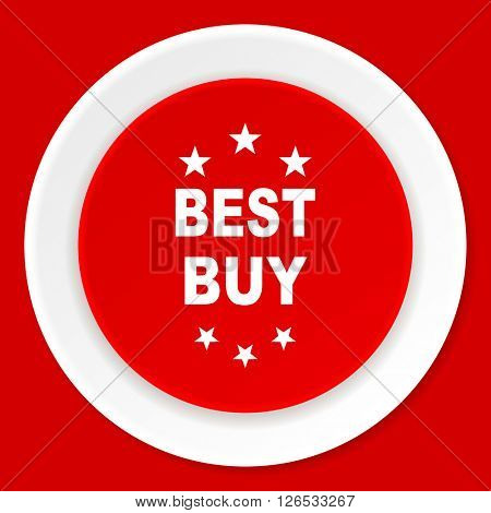 best buy red flat design modern web icon