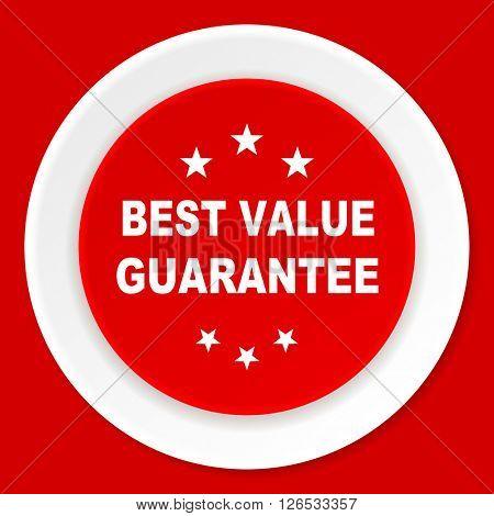 best value guarantee red flat design modern web icon
