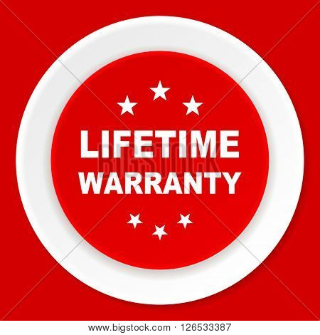 lifetime warranty red flat design modern web icon