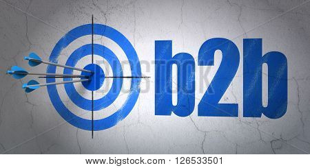 Business concept: target and B2b on wall background