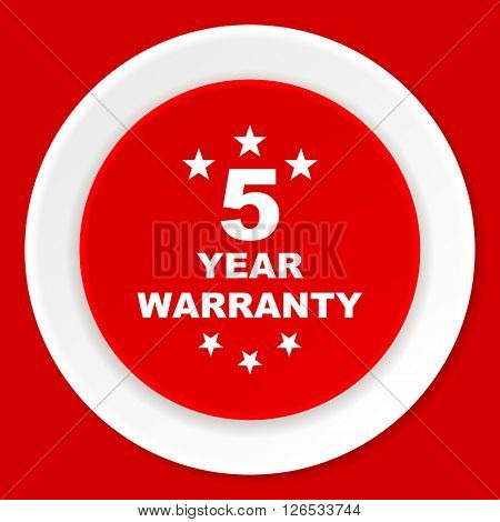 warranty guarantee 5 year red flat design modern web icon