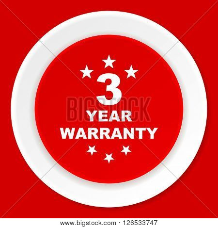 warranty guarantee 3 year red flat design modern web icon