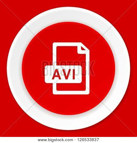 avi file red flat design modern web icon