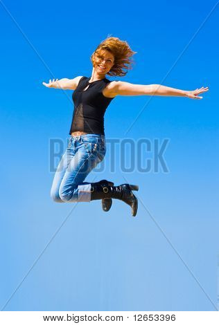 "jumping to the sky -  of  ""Girls on a Beach"" series in my portfolio"