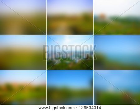 Set of nature abstract backgrounds with landscape of green grass and the blue sky river skyline blur texture 4x3 in vector