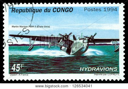 STAVROPOL RUSSIA - MARCH 30 2016: A stamp printed in Republic of the Congo shows Martin Mariner PBM-3 bomber seaplane USA 1940 cirka 1994