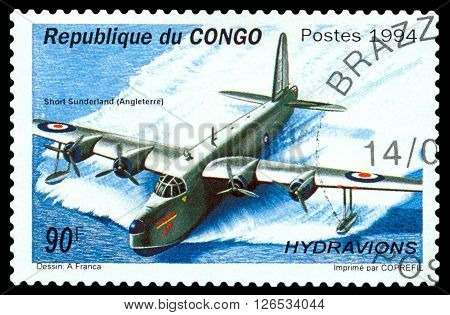 STAVROPOL RUSSIA - MARCH 30 2016: A stamp printed in Republic of the Congo shows Short Sunderland flying boat Creat Britain 1938 cirka 1994