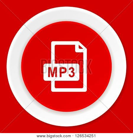 mp3 file red flat design modern web icon