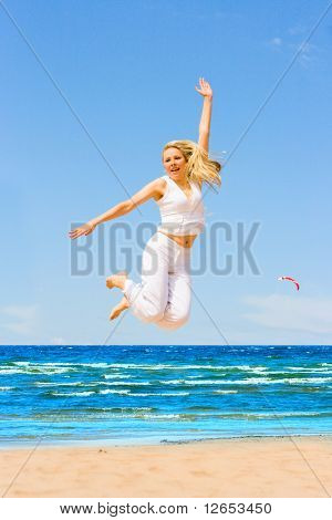 "jump like crazy -  of  ""Girls on a Beach"" series in my portfolio"