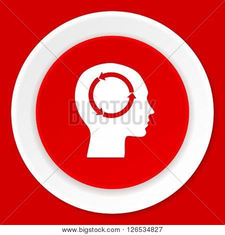 head red flat design modern web icon