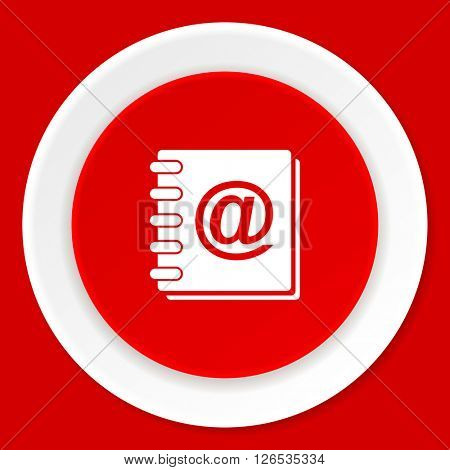address book red flat design modern web icon