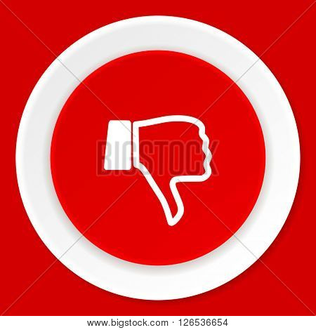 dislike red flat design modern web icon