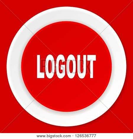 logout red flat design modern web icon