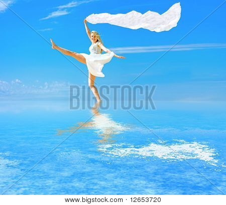 """i walk on water and fly like a wind    -  of  """"Girls on a Beach"""" series in my portfolio"""