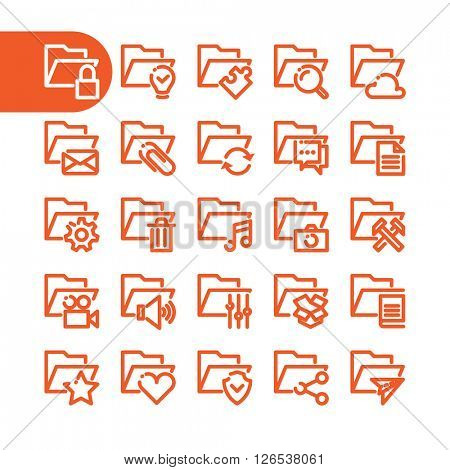 Business Fat Line folder Icon set for web and mobile. Modern minimalistic flat design elements of office and custom folder icons