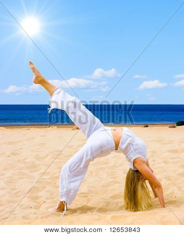 "stretching my body - of  ""Girls on a Beach"" series in my portfolio"