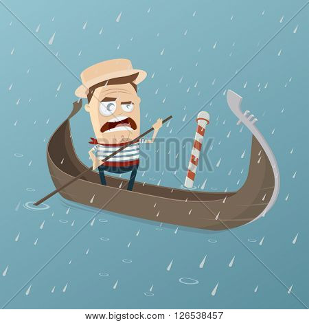 grumpy venetian gondolier in rainy weather