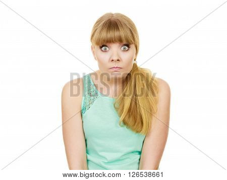 Concerned scared shocked woman. Emotional facial expression wide eyed girl surprised face isolated on white