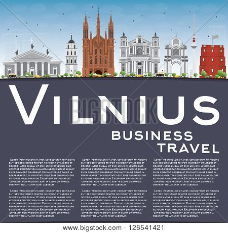 Vilnius Skyline with Gray Landmarks, Blue Sky and Copy Space. Business Travel and Tourism Concept with Historic Buildings. Image for Presentation Banner Placard and Web Site.